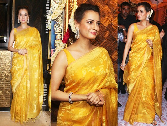 Dia Mirza dazzles in yellow silk saree at Sunar Jewellery Store launch
