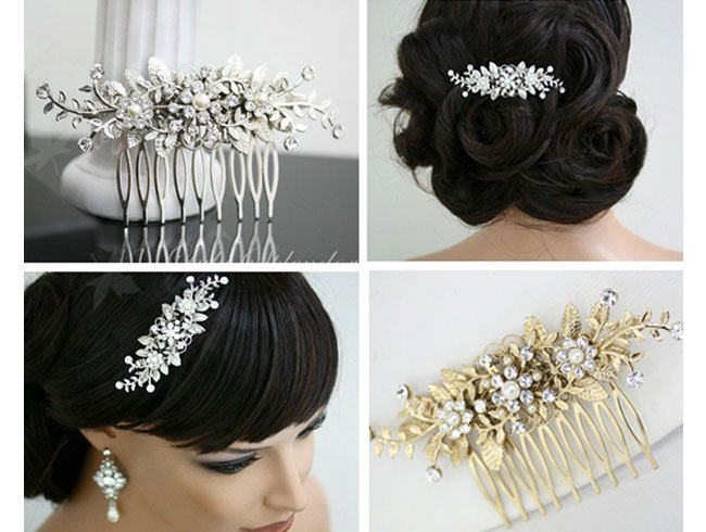 Studded vine leaf hair comb for the evening