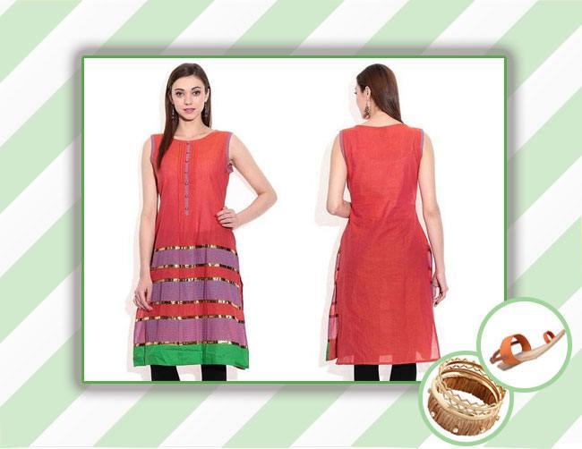 orange summer kurti