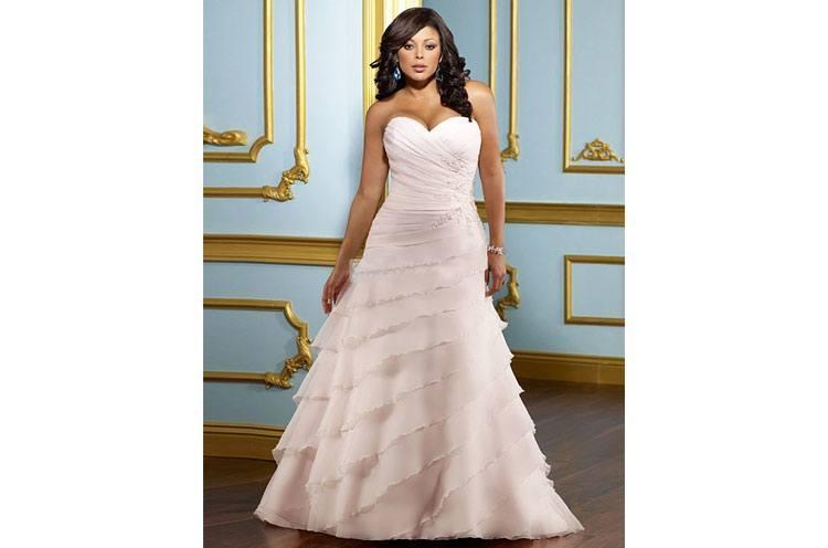 A line Beading Plus Size Wedding Dresses