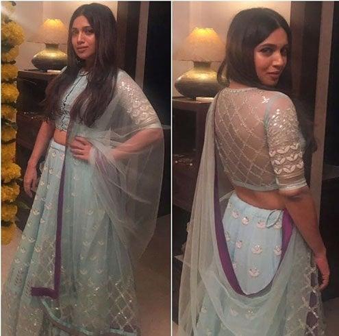 Bhumi Pednekar In Checkered Sheer Back Styled Blouse