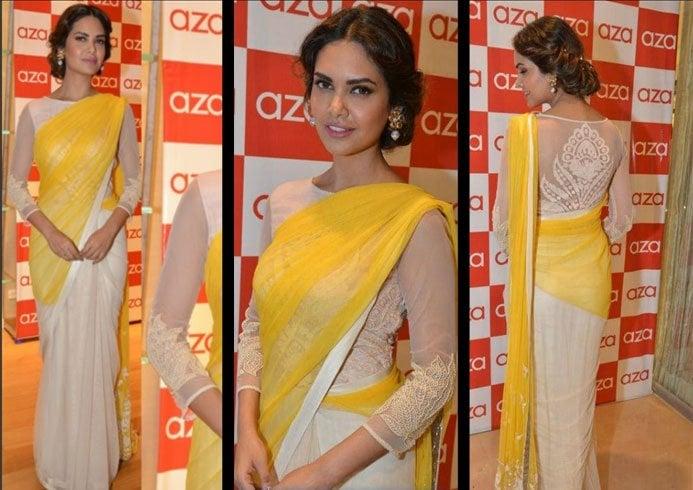 Esha Gupta In High Necked Sheer Back Blouse Design