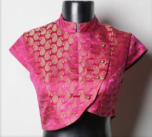 High Neck Brocade Blouse