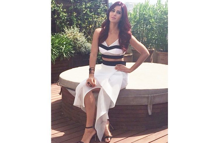 Katrina Kaif in a white-and-black Milly cut-out dress at Cannes Film Festival 2015