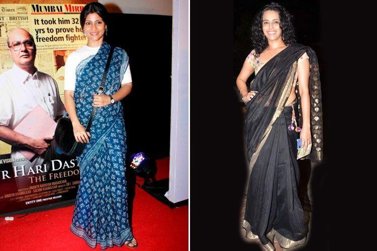Konkona Sen Sharma and Swara Bhaskar wearing Chanderi sarees at different events