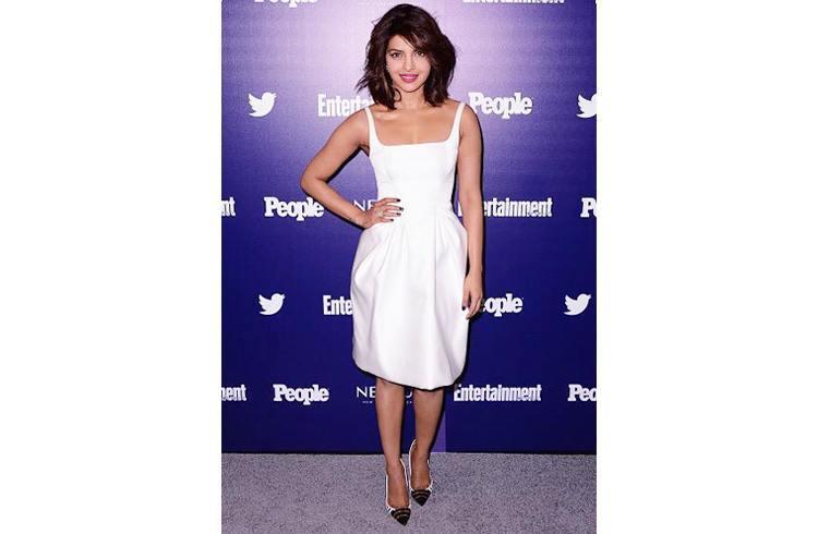 Priyanka Chopra Wearing a white Zac Posen dress at  Zac posen ew upfront party