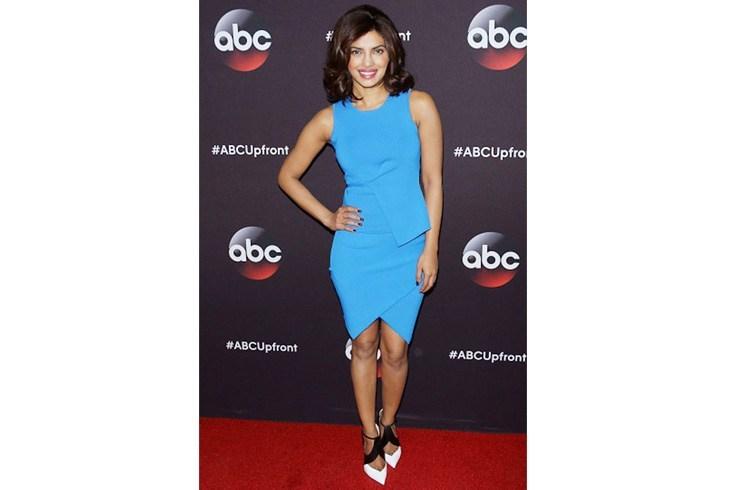 Priyanka Chopra was chic in a blue Alexander Wang dress at ABC presentation