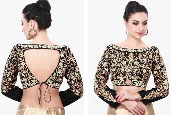 Boat Neck Saree Blouse Deisgns