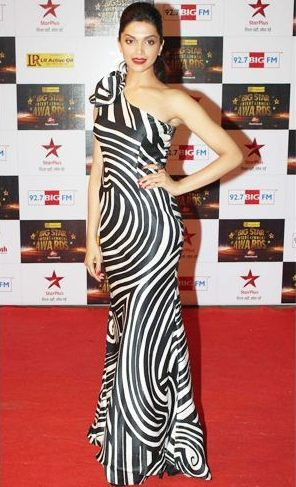 Deepika in white and black gown