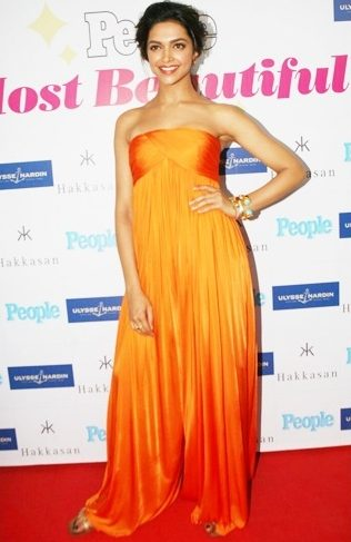 Deepika Padukone in orange gown
