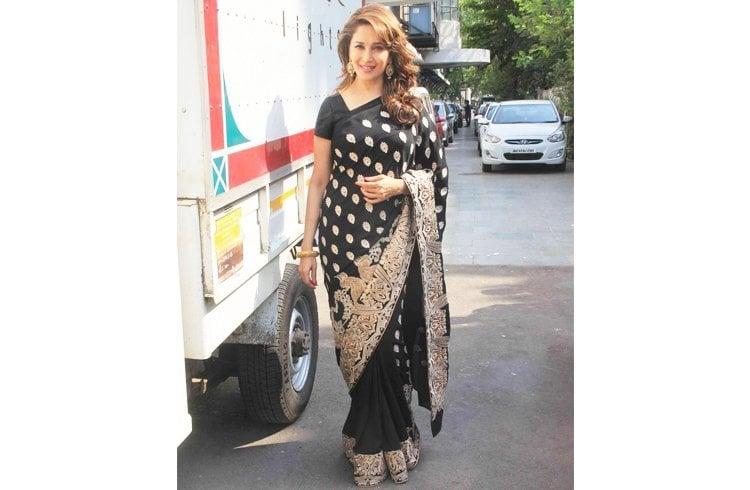 Madhuri Dixit in black saree by Surendri