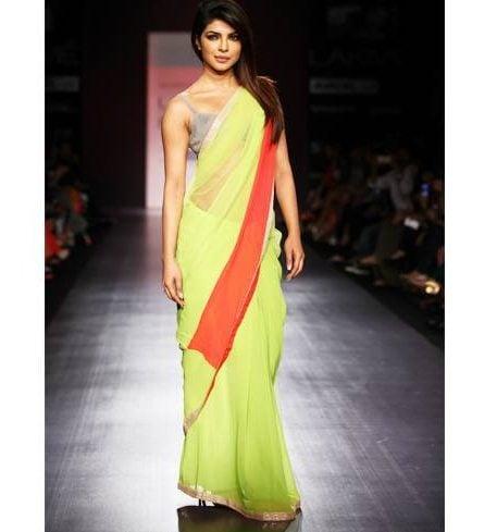 Priyanka Chopra in a bright green saree