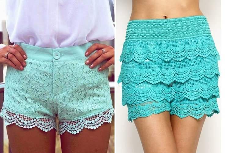 shorts mint lace shorts pretty