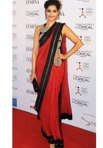 Sonam Kapoor in a red saree