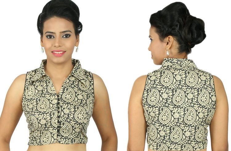 Black And White Sleeveless Blouse
