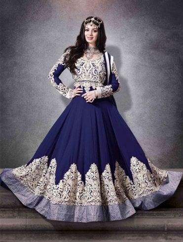 Blue And Golden Anarkali Suit