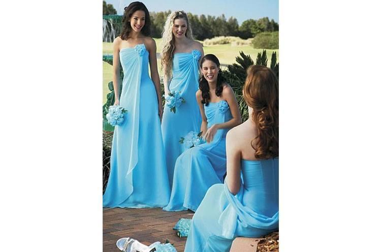 Bridesmaids in sky blue