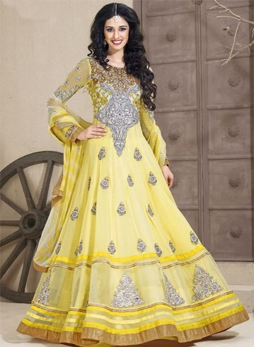 Bright Yellow Georgette Anarkali