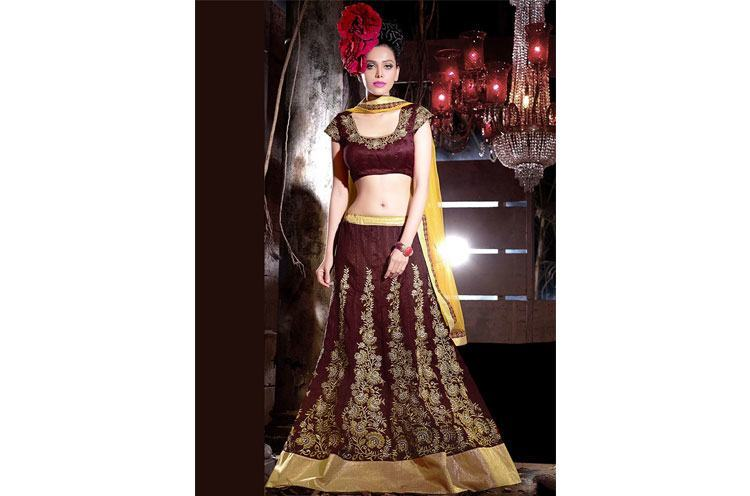 Embroidered Bhagalpuri Silk Lehenga Choli