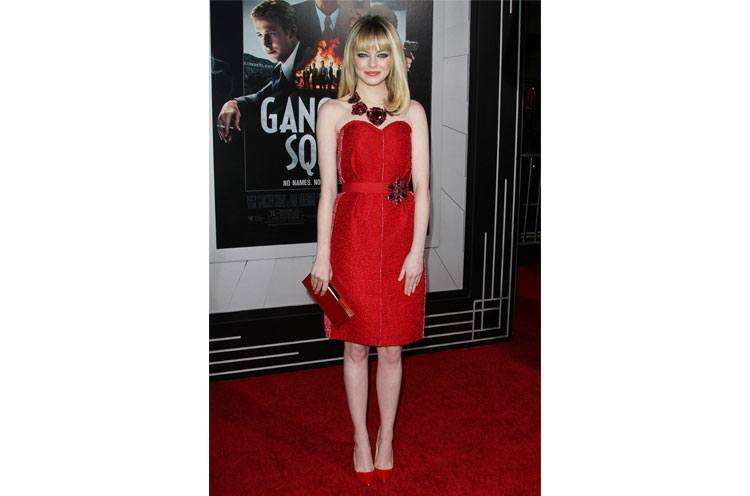 Emma Stone red tube dress