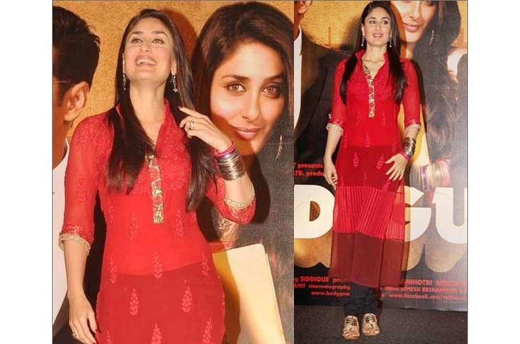 Kareena in kolhapuris with red Salwar Kameez