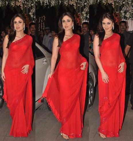 Manish Malhotra Plain Red Saree