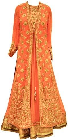 Orange Jacket Style Anarkali