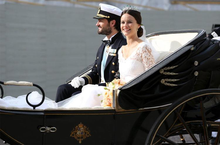 Princess Sofia of Sweden ride in the wedding