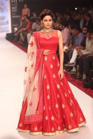 Red And Gold Anarkali Design