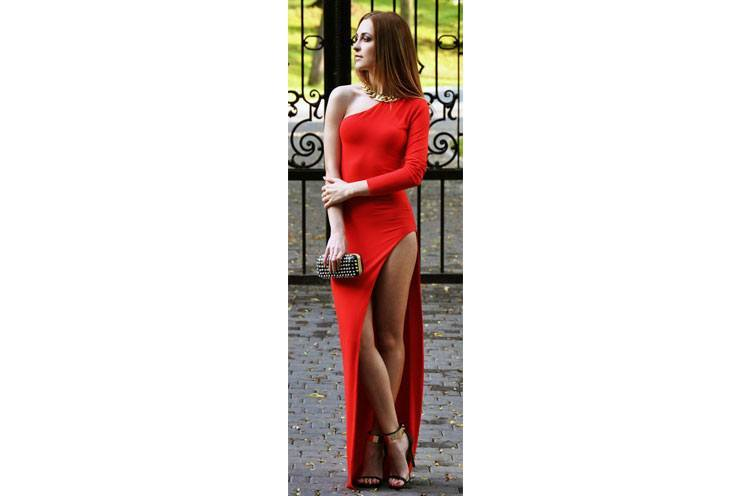 Red Hot fashion maxi dress