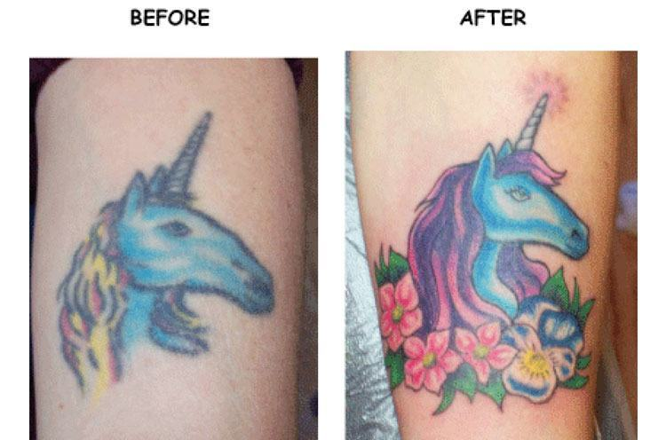 Unicorn cover up tattoo