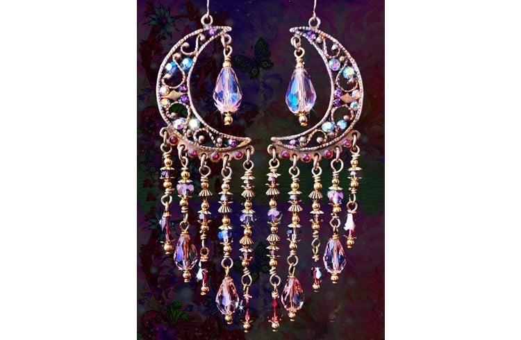 Chandelier moon earrings