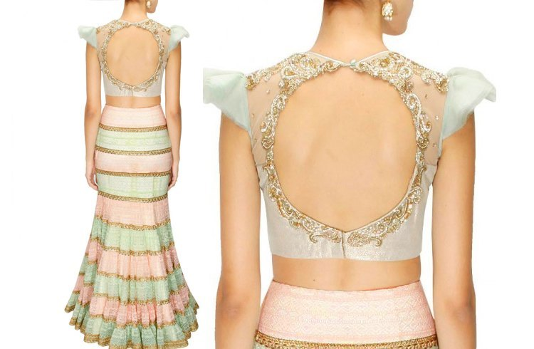 Cut backless blouse for lehenga
