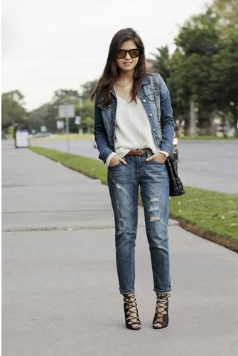 denim jacket double boyfriend jeans