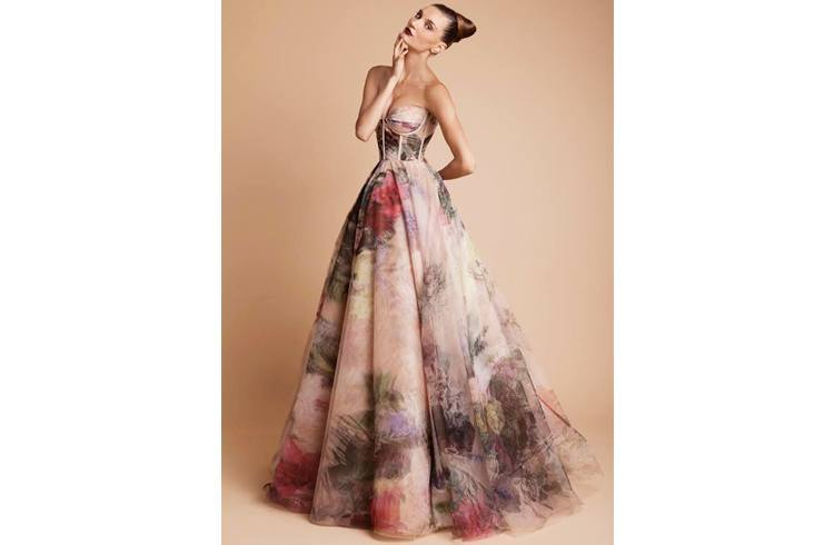 Floral patterns prom dress