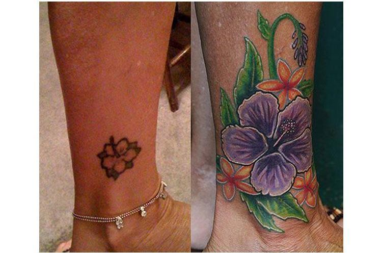 flower cover up tattoos