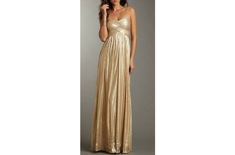 golden bridesmaid gown