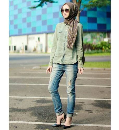 hijab outfits with jeans