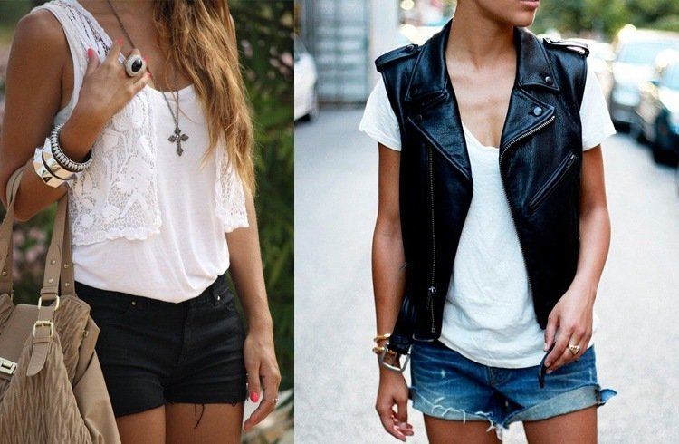 Lace and leather vests