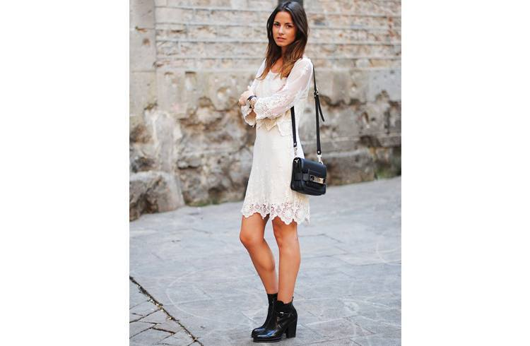 Lace Dress with Leather Boots