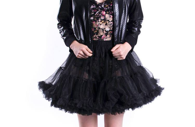 Leather Jacket with Frilly Skirt