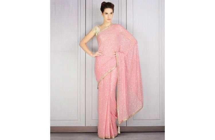 Manish pink seqin saree