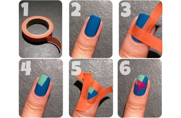 Nail Art Designs You Can Do Only Using A Scotch Tape