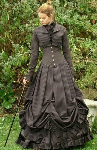 Pin striped Victorian gowns