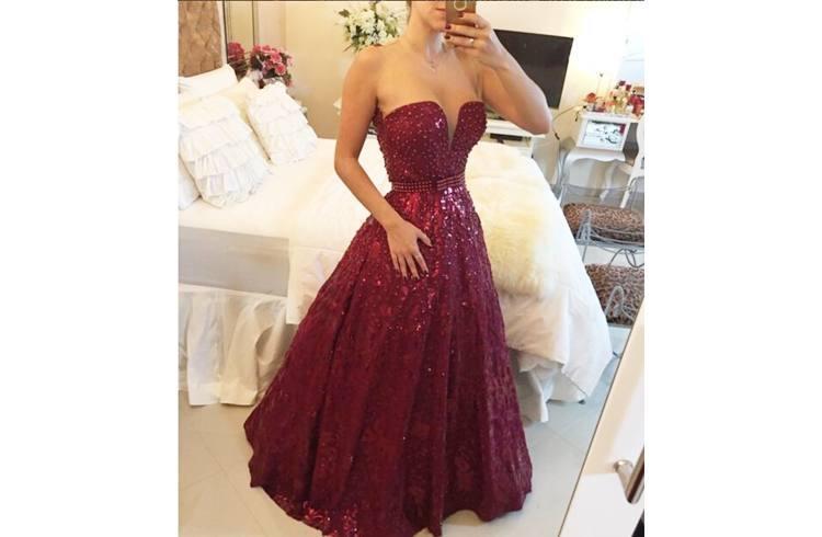 Prom dress with shine