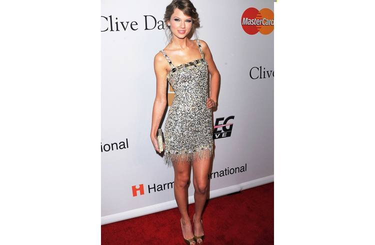 Taylor swift in metallic dress