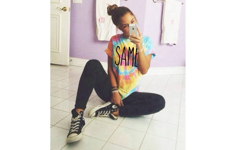 Tie and dye tees with leggings