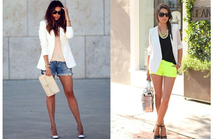 White blazer with shorts