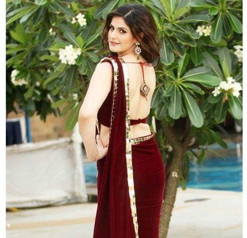 Zarine maroon backless blouse pattern