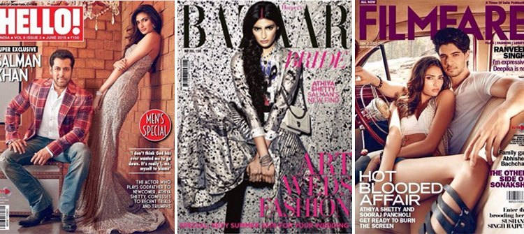 Athiya Shetty fashion magazine covers